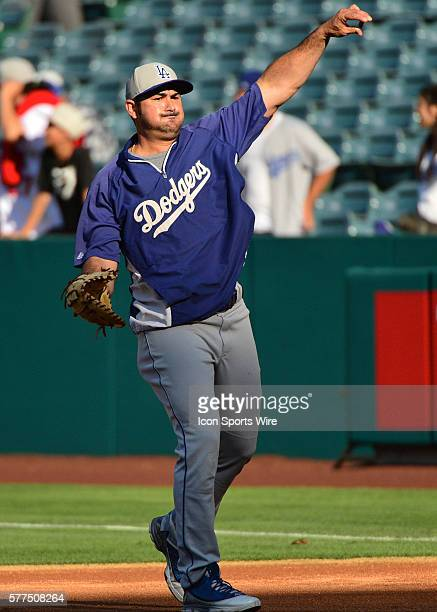 August 07 2014 Los Angeles Dodgers First base Adrian Gonzalez [3208] during warmup before the Los Angeles Dodgers vs the Los Angels Angels of Anaheim...