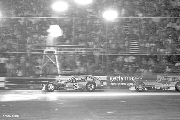 Ron Bouchard Len Boehler Ford Pinto Modified leads Geoff Bodine Billy Taylor Ford Pinto at the finish of the 8th Annual Winston 100 NASCAR Winston...