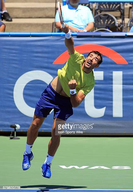 Ivan Dodig during a ATP men's doubles semi-final match against Marcin Matkowski and Nenad Zimonjic at the CITI Open tennis tournament at the Rock...