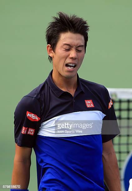 Kei Nishikori after winning a ATP men's semi-final match against Marin Cilic at the CITI Open tennis tournament at Rock Creek tennis center, in...