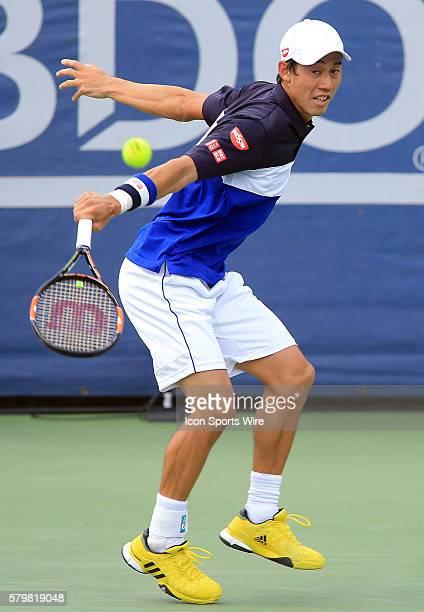 Kei Nishikori during a ATP men's semi-final match against Marin Cilic at the CITI Open tennis tournament at Rock Creek tennis center, in Washington...