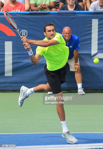 Marin Cilic during a ATP men's semi-final match against Kei Nishikori at the CITI Open tennis tournament at Rock Creek tennis center, in Washington...