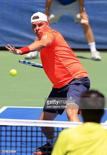 Nenad Zimonjic during a ATP men's doubles semi-final match against Ivan Dodig and Marcelo Melo at the CITI Open tennis tournament at the Rock Creek...