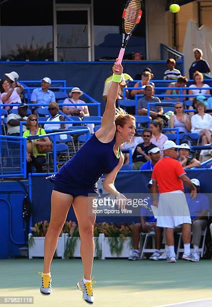 Anastasia Pavlyuchenkova serves during the WTA women's singles final against Sloane Stephens at the CITI Open tennis tournament at the Rock Creek...