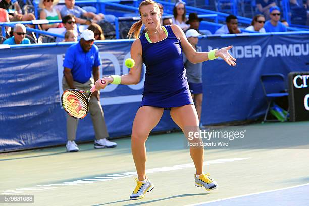 During the WTA women's singles final against at the CITI Open tennis tournament at the Rock Creek Tennis Center, in Washington D.C.