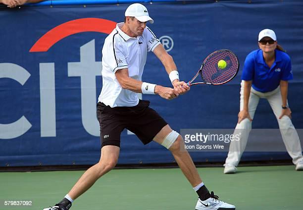 John Isner during the ATP men's singles final against Kei Nishikori at the CITI Open tennis tournament at the Rock Creek Tennis Center, in Washington...