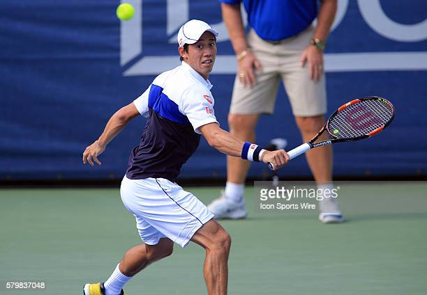 Kei Nishikori during the ATP men's singles final against John Isner at the CITI Open tennis tournament at the Rock Creek Tennis Center, in Washington...