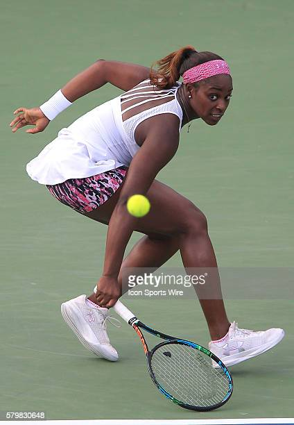 Sloane Stephens during the WTA women's singles final against Anastasia Pavlyuchenkova at the CITI Open tennis tournament at the Rock Creek Tennis...