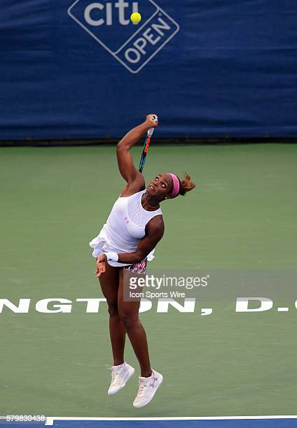 Sloane Stephens serves during the WTA women's singles final against Anastasia Pavlyuchenkova at the CITI Open tennis tournament at the Rock Creek...