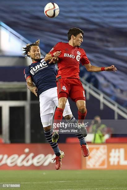 New England Revolution midfielder Jermaine Jones beats Toronto FC midfielder Marky Delgado in the air. The New England Revolution defeated Toronto FC...