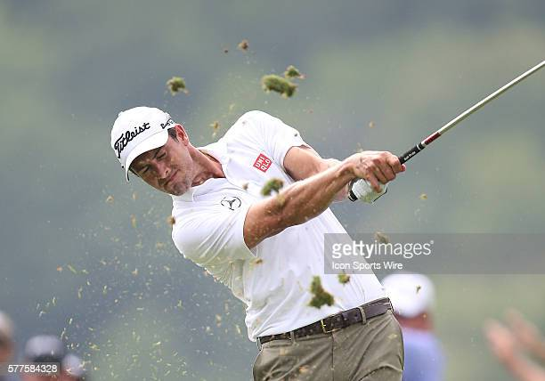 Adam Scott tees off during the fourth round of the PGA Championship at Valhalla Golf Club in Louisville Ky