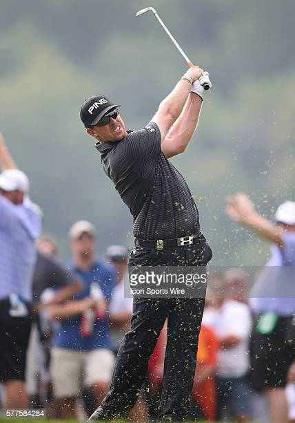 Henrik Stenson tees off during the fourth round of the PGA Championship at Valhalla Golf Club in Louisville Ky