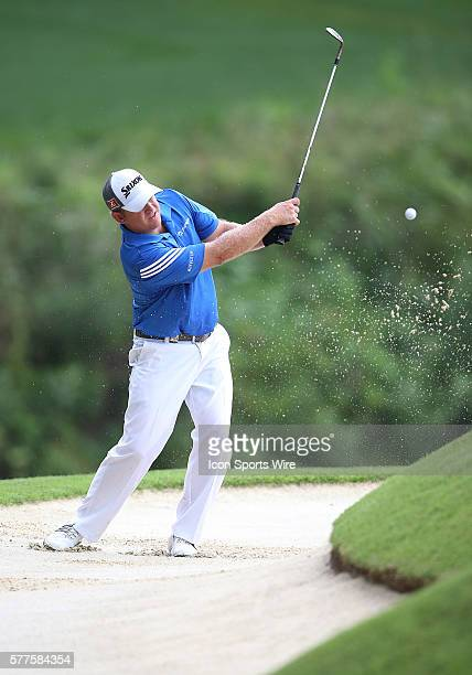J B Holmes hits from a bunker during the fourth round of the PGA Championship at Valhalla Golf Club in Louisville Ky