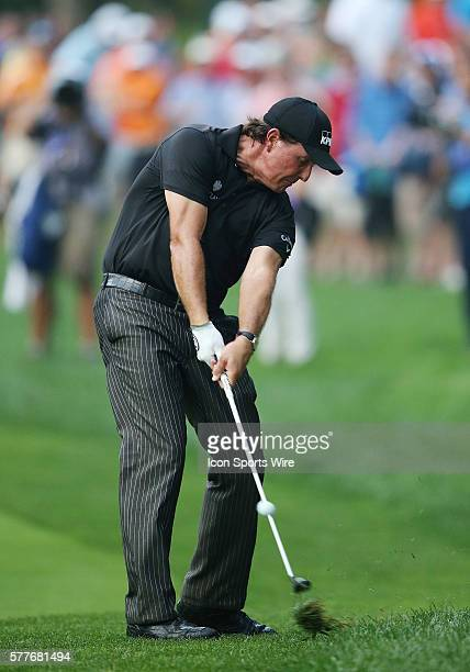 Phil Mickelson plays in the final round of the PGA Championship at Valhalla Golf Club in Louisville Ky