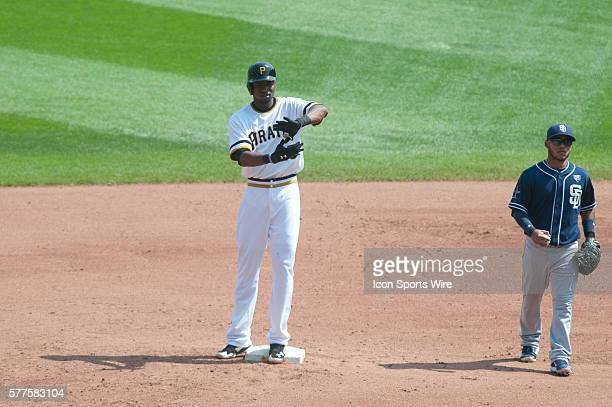 Pittsburgh Pirates right fielder Gregory Polanco flashes the Zoltan after hitting a double during the fifth inning in the game between the San Diego...