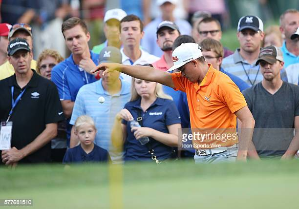 Rickie Fowler drops his ball in the final round of the PGA Championship at Valhalla Golf Club in Louisville Ky