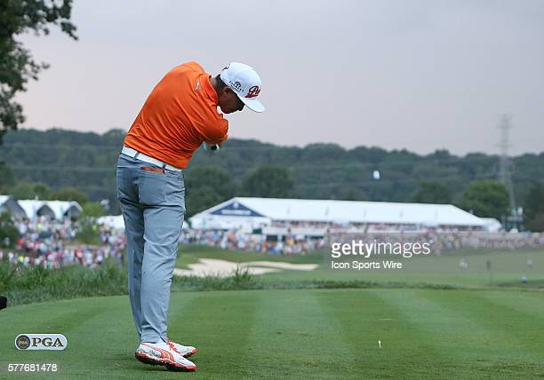 Rickie Fowler tees off on the 18th hole in the final round of the PGA Championship at Valhalla Golf Club in Louisville Ky