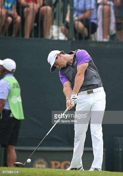 Rory McIlroy tees off during the fourth round of the PGA Championship at Valhalla Golf Club in Louisville Ky