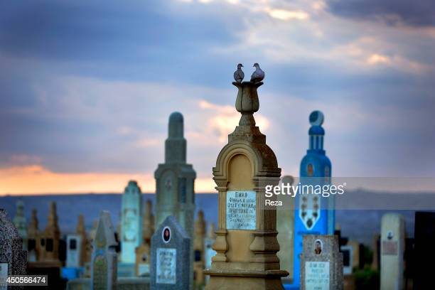 August 10 Sofi Hamid Cemetery South of Baku Azerbaijan The pastelcolored tombstones at the Sofi Hamid Cemetery are from diverse time periods The...
