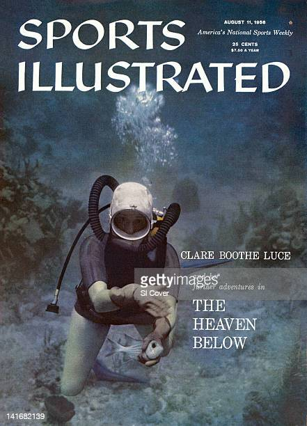 August 11 1958 Sports Illustrated via Getty Images Cover Portrait of Clare Boothe Luce holding squirrelfish while underwater Grand Bahama Bank...