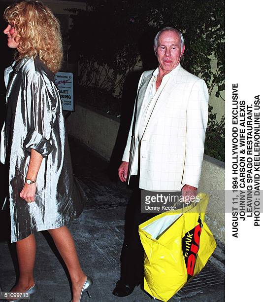 August 11 1994 West Holly Wood Jhonne Carson And His Wife Alxis Leave Spago Restaurant After Dinner