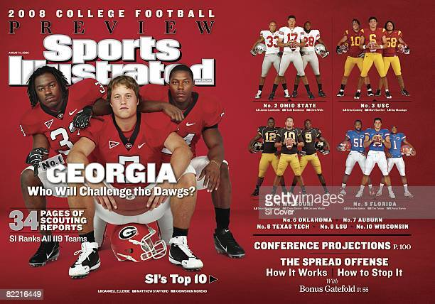 College Football Season Preview Portrait of Georgia QB Matthew Stafford with Dannell Ellerbe and Knowshon Moreno at Athletic Center Athens GA...
