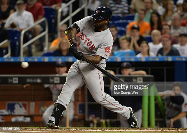 August 11 2015 Boston Red Sox right fielder Jackie Bradley Jr triple to center field during a game between the Miami Marlins and the Boston Red Sox...