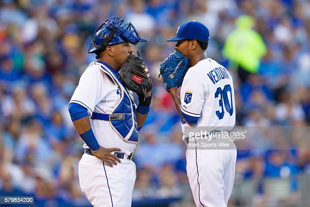 Kansas City Royals catcher Salvador Perez and Kansas City Royals starting pitcher Yordano Ventura during the MLB American League Central division...