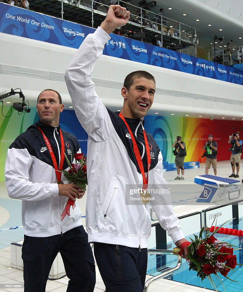 August 11, 2008, Michael Phelps, right , with anchorman Jason Lezak in tow celebrate their victory i : News Photo
