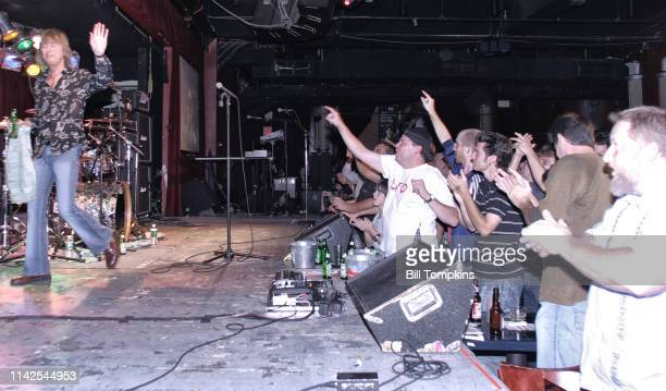 Paul Raymond keyboard and rhythm guitar player for the band UFO waves goodbye at club BB KING's on August 12 2008 in New York City