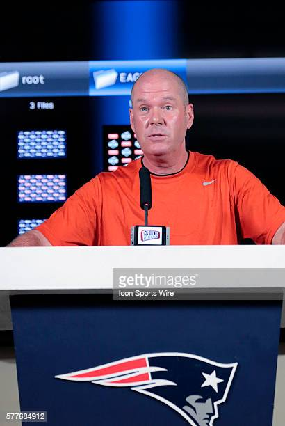 NFL referee John Parry discusses the rules changes for 2014 during the New England Patriots Philadelphia Eagles joint training camp at the Patriots...