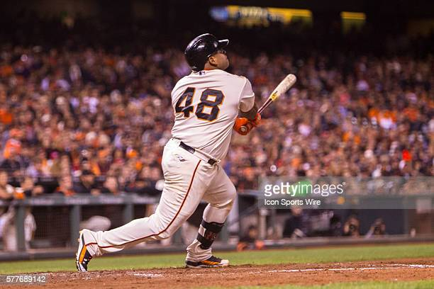 San Francisco Giants third baseman Pablo Sandoval at bat and following the trajectory of the ball during the game between the San Francisco Giants...