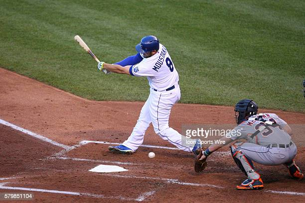Kansas City Royals third baseman Mike Moustakas [7040] strikes out early in a game against the Detroit Tigers at Kauffman Stadium in Kansas City MO...