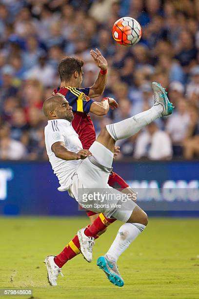 Sporting KC defender Kevin Ellis kicks the ball the opposite direction during the MLS US Open Cup Semifinals game between Real Salt Lake and Sporting...