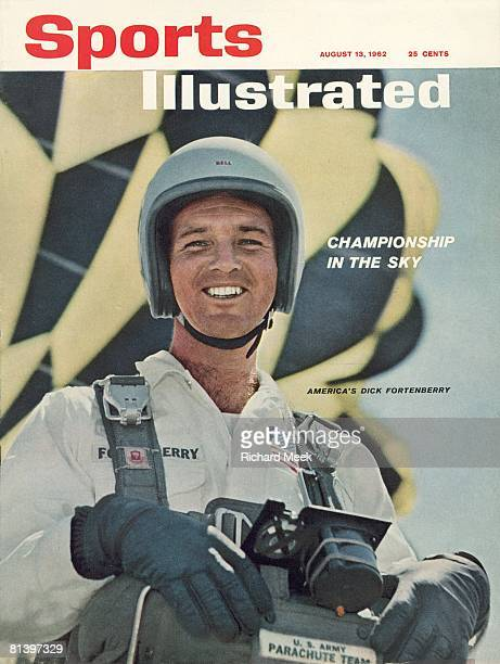August 13 1962 Sports Illustrated Cover Sky Diving Closeup portrait of US Army Parachute Team Dick Fortenberry at Sport Parachuting Center Orange MA...