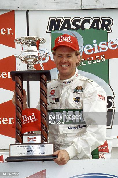 Rusty Wallace in victory lane after winning the Bud at the Glen NASCAR Cup race at Watkins Glen International