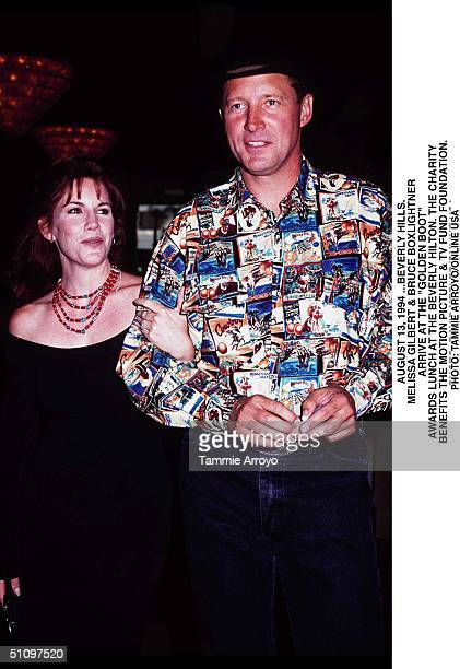 """August 13, 1994 Beverly Hills.. Melissa Gilbert And Bruce Boxlightner Arrive At The """"Golden Boot Awrads"""" Dinner At The Beverly Hilton. The Charity..."""
