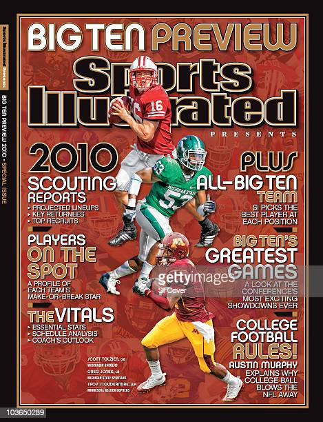 August 13 2010 Sports Illustrated Presents Cover College Football Big Ten Preview Wisconsin QB Scott Tolzien in action vs Fresno State in Madison on...