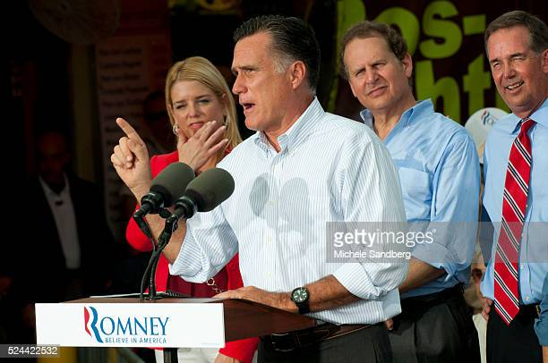 August 13 2012 PAM BONDI MITT ROMNEY LINCOLN DIAZBALART JEFF ATWATER Mitt Romney Campaigns in South Florida On His Bus Tour For A Stronger Middle...