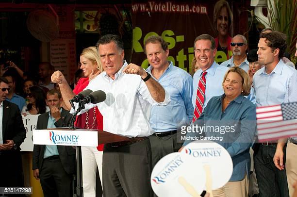 August 13 2012 PAM BONDI MITT ROMNEY LINCOLN DIAZBALART JEFF ATWATERILEANA ROSLEHTINEN CRAIG ROMNEY Mitt Romney Campaigns in South Florida On His Bus...