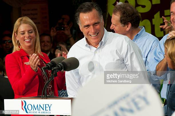 August 13 2012 PAM BONDI MITT ROMNEY Mitt Romney Campaigns in South Florida On His Bus Tour For A Stronger Middle Class IN The Cuban Area Of South...