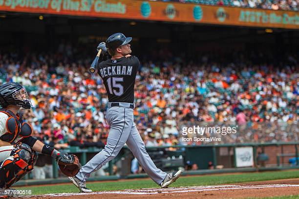 Chicago White Sox second baseman Gordon Beckham at bat and following the trajectory of the ball after a base hit during the game between the San...