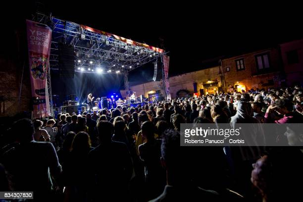 a English electronic music BEAK performs on stage during Ypsigrock Festival on August 11 2017 in Castelbuono Palermo Italy