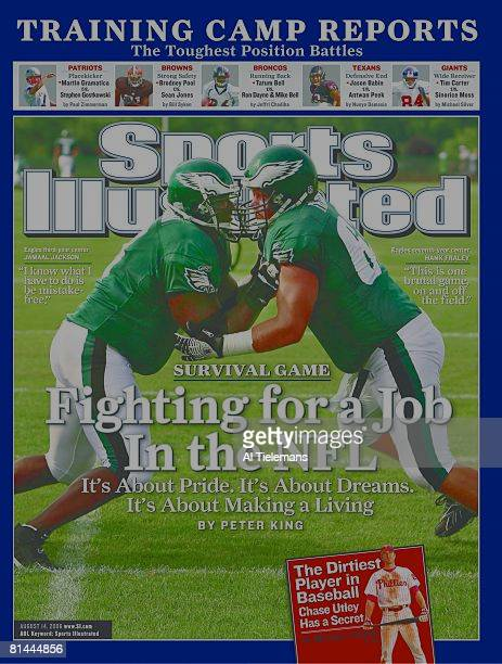 August 14 2006 Sports Illustrated via Getty Images Cover Football Season Preview Philadelphia Eagles Jamaal Jackson and Hank Fraley in action during...