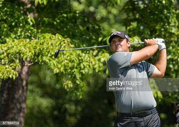 Patrick Reed drives the ball on the 9th tee box during the first round of the Wyndham Championship at Sedgefield Country Club in Greensboro NC
