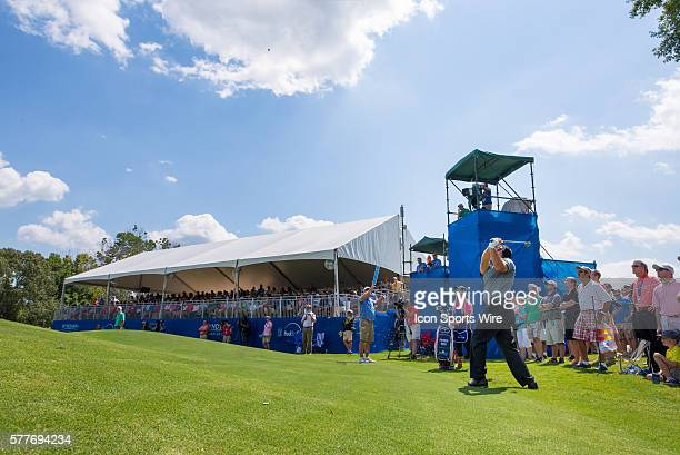 Patrick Reed flops the ball in the air on the 9th green during the first round of the Wyndham Championship at Sedgefield Country Club in Greensboro NC