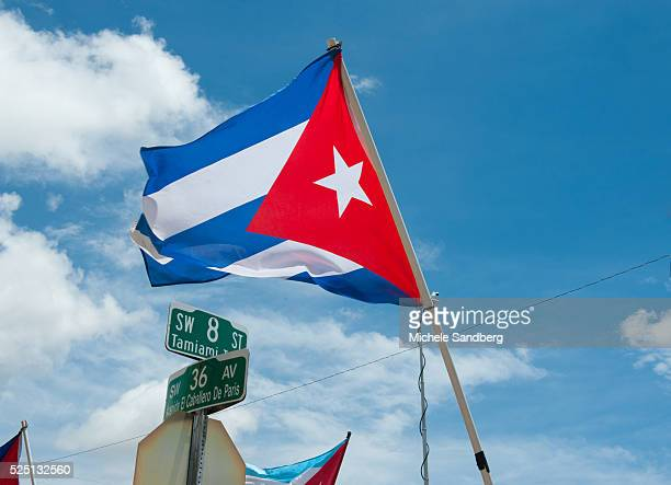 August 14 2015 Demonstrations against the opening of the US embassy in Havana in the Little Havana neighborhood in Miami Florida