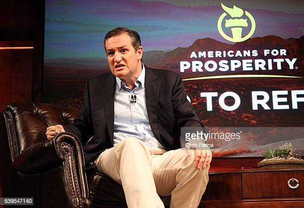 August 14 Las VegasNevada Republican presidential candidate Senator Ted Cruz RTexasspeaks at the Americans for Prosperity Road to Reform event Friday...