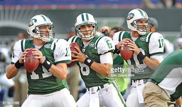 August 14th 2009 NY Jets Preseason at the Meadowlands Jets quaterbacks Mark Sanchez and Kellen Clemens and Erik Ainge