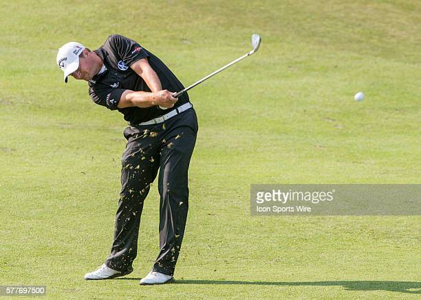 Brian Stuard hits his approach shot on the 9th hole during the second round of the Wyndham Championship at Sedgefield Country Club in Greensboro, NC.